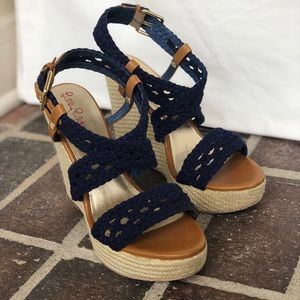 9886d0925d Lilly Pulitzer Shoes - Lilly Pulitzer Navy wedge size 7.5